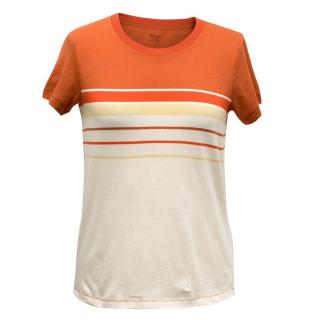 Madewell Burnt Orange and Cream T-shirt with Striped