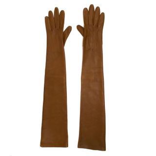 Lanvin Tan Brown Long Lambskin Gloves