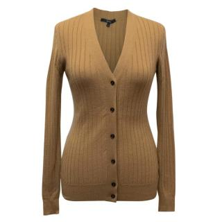 Gucci Brown Ribbed Cashmere Cardigan