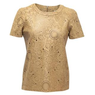 Daslu Beige Leather Cutout Top