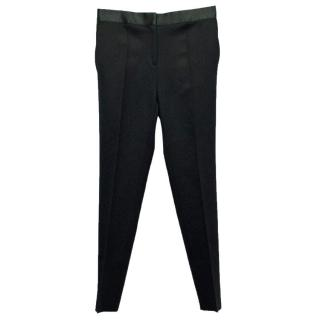 Celine Women's Black Cigarette Trousers With Satin Waistband