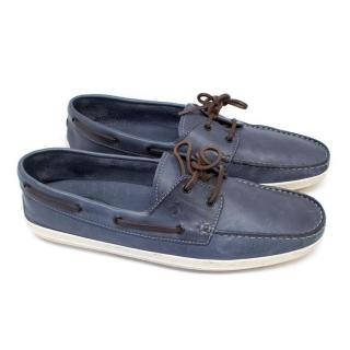 Tod's Blue Leather Loafers