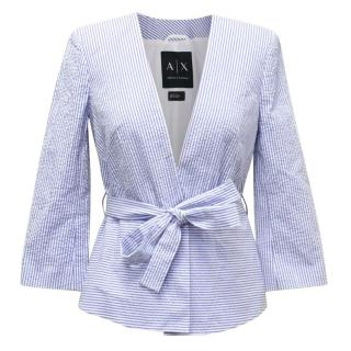 Armani Exchange Blue and White Striped Belted Jacket