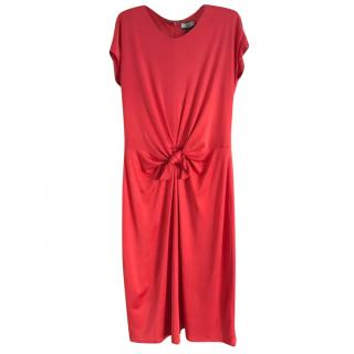 Issa London coral red silk jersey knot front dress