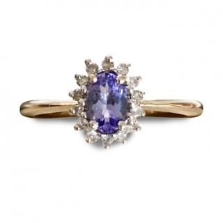 9ct Gold Tanzanite & Diamond Ring