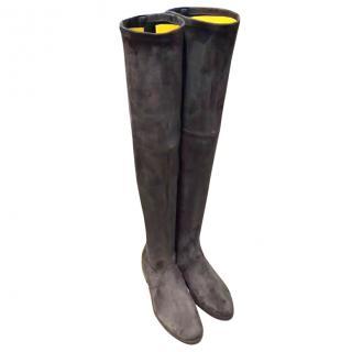 Stuart Weitzman Grey Over The Knee Suede Boots