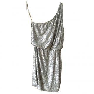 Haltson Heritage Gold sequinned one shoulder dress