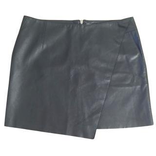 HELMUT LANG stilt lambs leather bonded black mini skirt