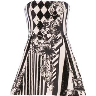 Balmain Graphic Print Strapless Dress