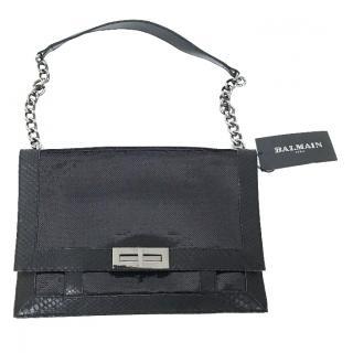Balmain Black Croc Leather Shoulder Bag