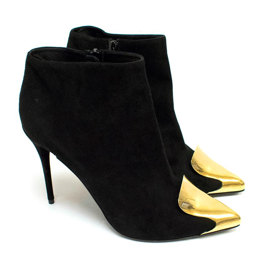 Alexander McQueen Habsburg Black Suede Boots with Gold Toe