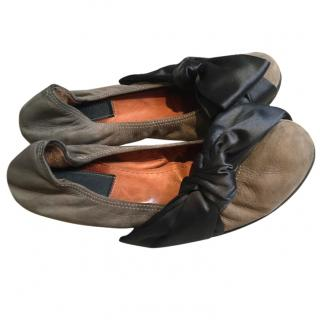 Lanvin flats ballerinas with satin bow sz 38