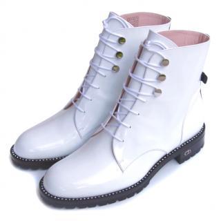 Dior White Rebelle Boots