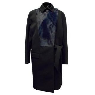 Salvatore Ferragamo Black Long Coat with Navy Lambs Fur