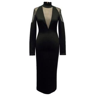 Balmain Black Tulle-Insert Midi Dress