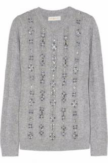 Tory Burch light grey crystal-embellished wool mix sweater