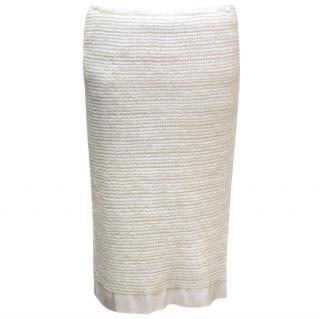 Lanvin Cream Textured Straight Skirt