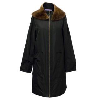Vera Wang Lavender Label Black Coat with Mink Fur Trim