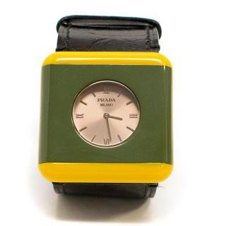Prada Green & Yellow Watch Bracelet with Black Leather Strap