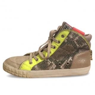 Ash Bis Snakeskin, Gold, Neon Chartreuse High Top Leather Sneakers