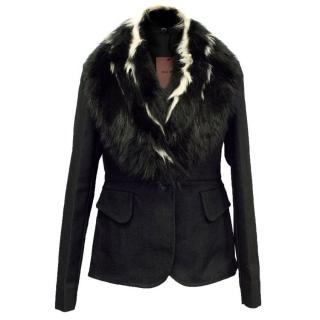 Miu Miu Grey Denim Blazer with Raccoon & Kangaroo Fur Collar