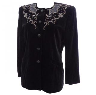 Escada Couture Vintage Black Velvet Jacket Swaroski Embroidered