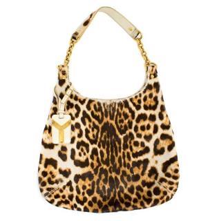 Yves Saint Lauren Leopard Print Ponyhair Shoulder Bag