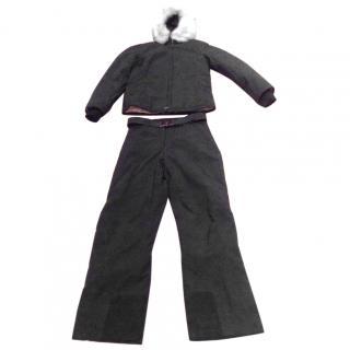 PradaSki suit Prada with fur trim -ladies size 12 with matching gloves