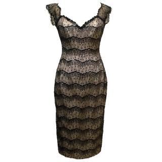 Suzanne Neville Sequin & Lace Black Dress
