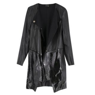 Fendi Black Leather Two Toned Coat