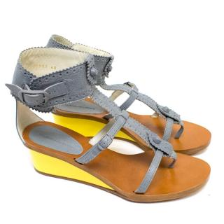 Balenciaga Grey Sandals with Yellow Wedge Heels