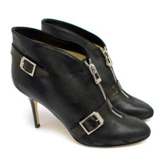 Jimmy Choo Black Leather Ankle Boots with Zip Front