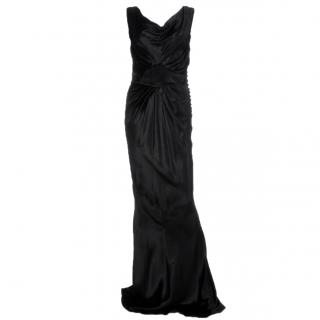 John Galliano Couture Draped Velvet Evening Gown