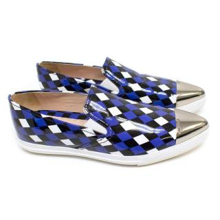 Miu Miu Blue Checked Patent Trainers with a Pointed Toe