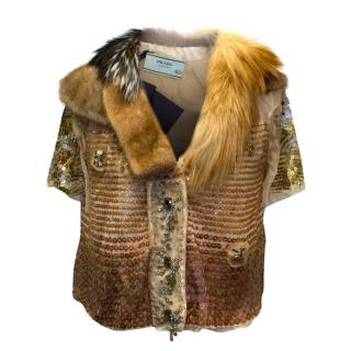 Prada Brown Sequined Cropped Jacket with Fur Collar