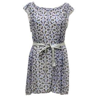 Prada Blue Printed Silk Sleeveless Dress
