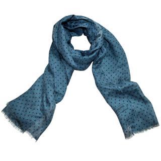 Dolce & Gabbana turqoise polka dot cashmere blend scarf