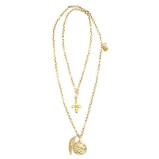 Gold Plated Chain Necklace with Charms
