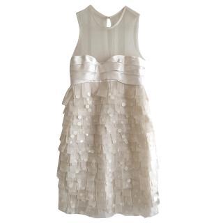 Paule Ka White Silk and Sequins Dress