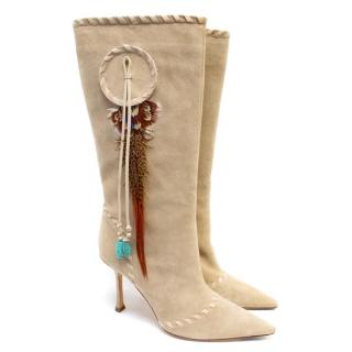 Jimmy Choo Beige Suede Knee High Dream Catcher Boots