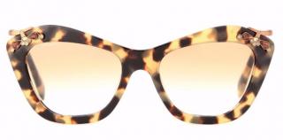 Miu Miu 03PS Brown Tortoiseshell Embellished Cat Eye Sunglasses
