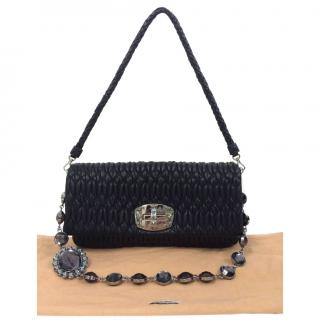 Miu Miu Swarovski Crystal Chain Leather Shoulder Bag