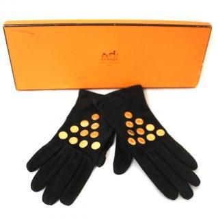 HERMES Black Suede Gloves - Size 7