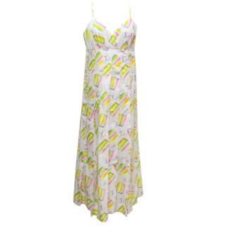 Chanel White Maxi Dress with Multicoloured Print