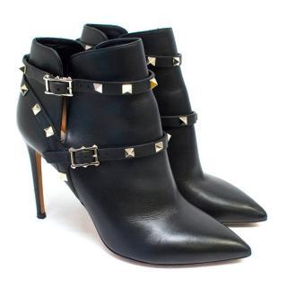 Valentino Black Rockstud Noir Leather Ankle Boots