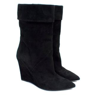 Saint Laurent Black Suede Mid-Calf Wedge Boots