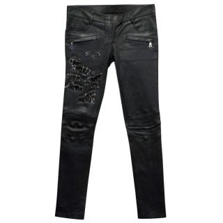 Balmain Black Leather Safety Pin Trousers
