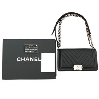 Chanel Boy Chevron Print in Calfskin Leather Limited Edition 2016