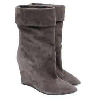 Saint Laurent Grey Suede Mid-Calf Wedge Boots