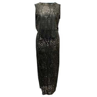 LaQuan Smith Black Leather Laser Cut Cropped Top & Skirt